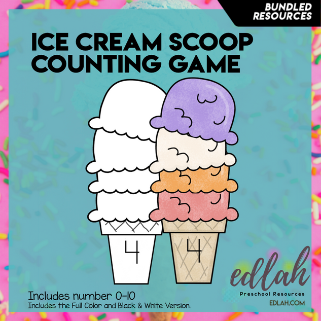 Ice Cream Scoop Counting Bundle - Summer Fun