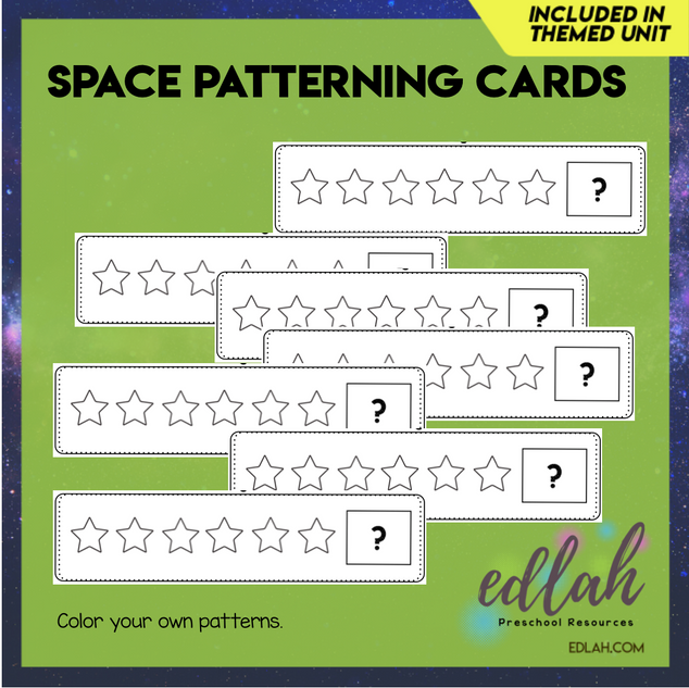 Space/Star Patterning Cards - Black & White Version