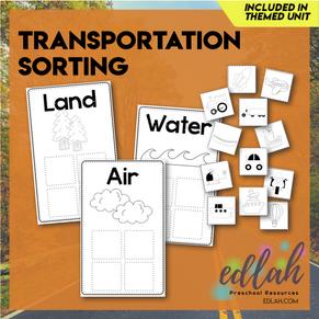Transportation Sorting Boards (Black & White Version)