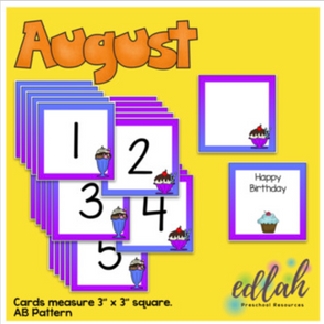 August Calendar Pieces - Ice Cream Themed - AB Pattern