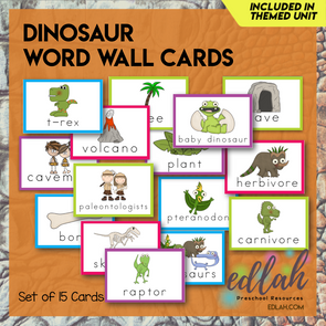 Dinosaur Vocabulary Word Wall Cards (set of 15) - Full Color -Version#1