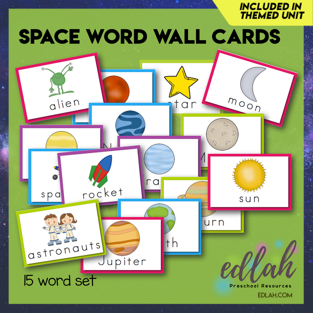 Space Vocabulary Word Wall Cards (set of 15) - Full Color -Version#1