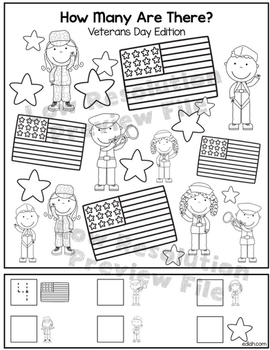 """Veterans Day """"How Many Are There"""" Activity Sheet"""