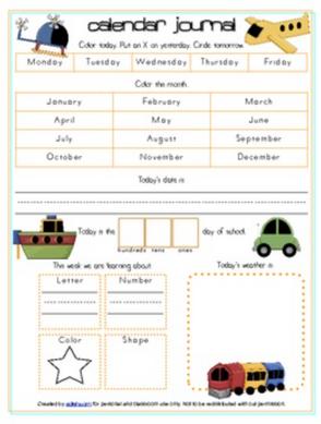 Transportation Calendar/Circle Time Journal Sheet