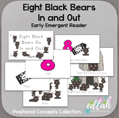 Eight Black Bears Early Emergent Reader (In and Out) - Full Color Version