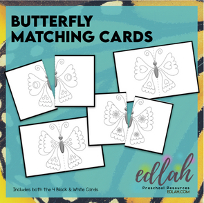 Butterfly Matching Game (Insect) - Black & White Version