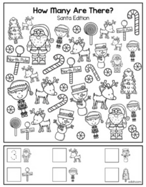 "Santa ""How Many Are There"" Activity Sheet"