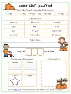 Pumpkins Calendar/Circle Time Journal Sheet