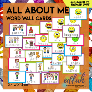 All About Me Vocabulary Word Wall Cards (set of 27) - Full Color -Version#1