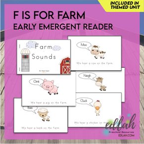 F is for Farm Early Emergent Reader - Full Color Version