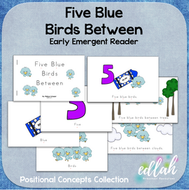 Five Blue Birds Early Emergent Reader (Between) - Full Color Version