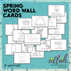 Spring Vocabulary Word Wall Cards (set of 18)- Black and White - Version#1