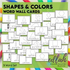 Shape and Color Vocabulary Word Wall Cards (set of 31)-Black & White-Version #1