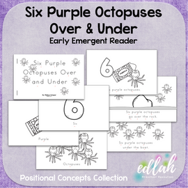 Six Purple Octopuses Early Emergent Reader (Over and Under) - Black & White