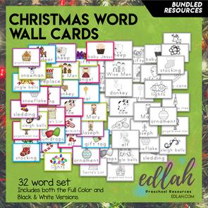 Christmas Vocabulary Word Wall Cards (set of 32) - BUNDLE-Version#1