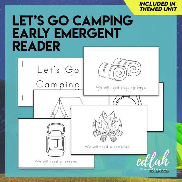 Let's Go Camping Early Emergent Reader - Black & White Version