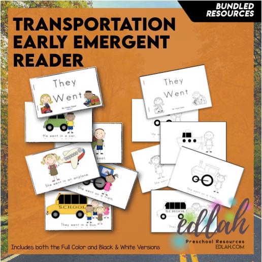 Transportation Early Emergent Reader - BUNDLE