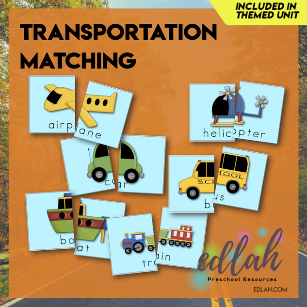 Transportation Matching & Spelling - Full Color Version