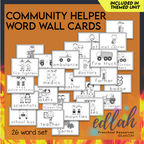Helping Our Community Vocabulary Word Wall Cards (set of 26)-Black & White -Version #1