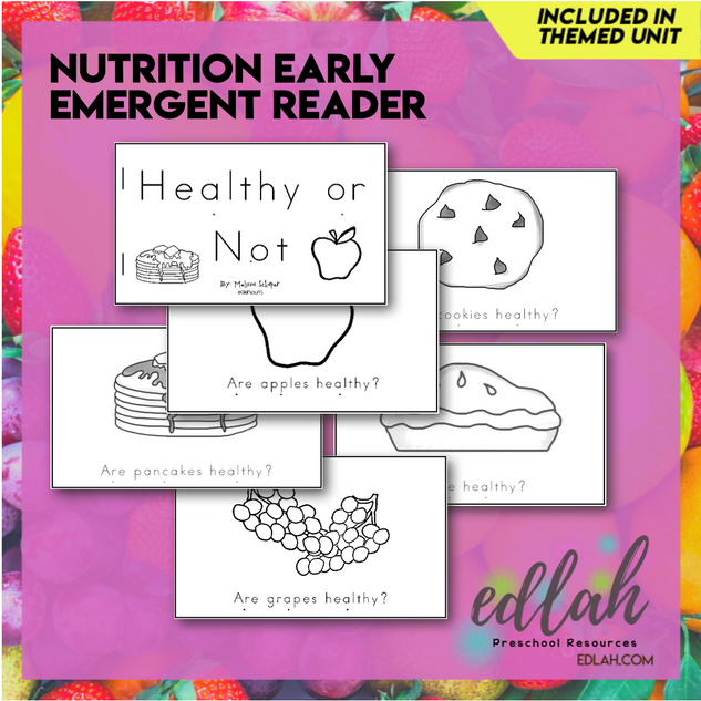 Nutrition/Food Early Emergent Reader - Black & White Version
