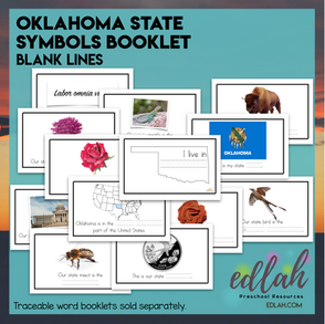 Oklahoma State Symbols Booklet-Blank Lines