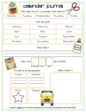 Back To School Calendar/Circle Time Journal Sheet