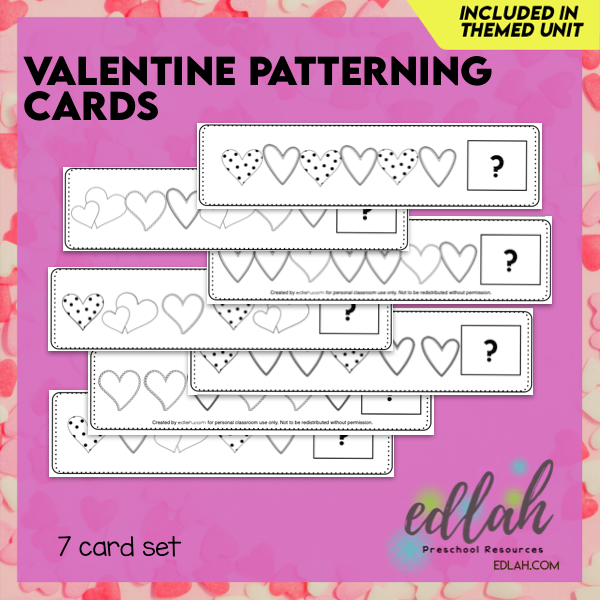 Valentine's Day Patterning Cards - Black & White Version