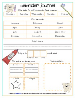 Dental Health Calendar/Circle Time Journal Sheet