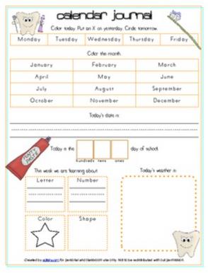 Dental Health Calendar/Circle Time Journal Sheet