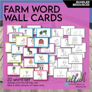 Farm Vocabulary Word Wall Cards (set of 20) - BUNDLE -Version#1