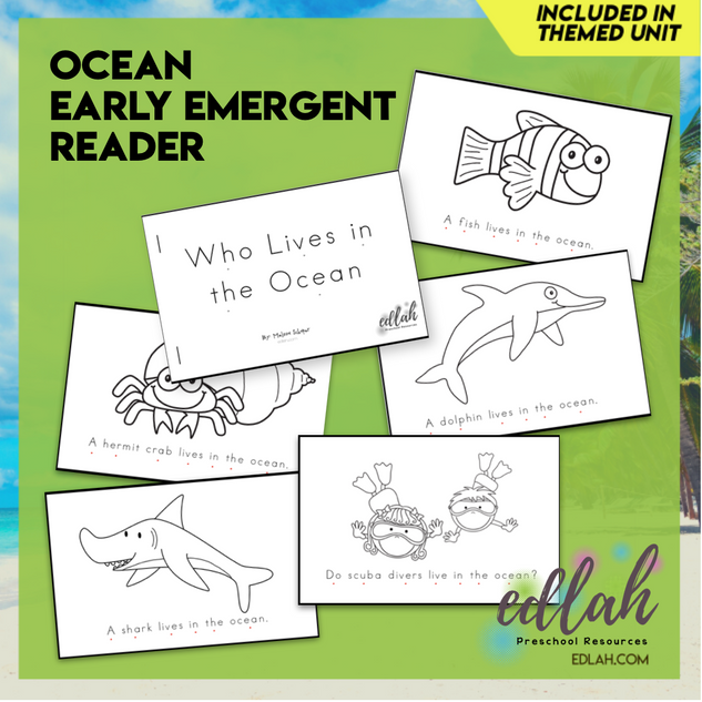 Ocean Early Emergent Reader - Black & White Version
