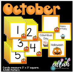 October Calendar Pieces - Pumpkin Themed - AABB Pattern