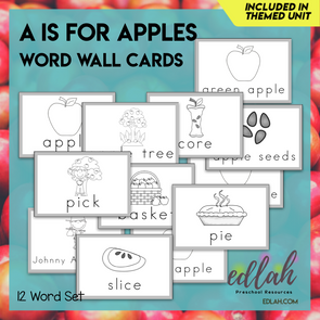Apples Vocabulary Word Wall Cards (set of 12) - Black & White -Version#1