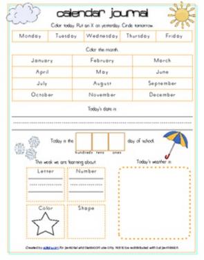 Calendar/Circle Time Journal Sheet
