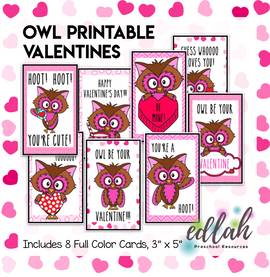Owl Printable Valentines - Set of 8 - Full Color