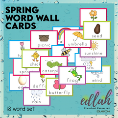Spring Vocabulary Word Wall Cards (set of 18)-Full Color-Version#1