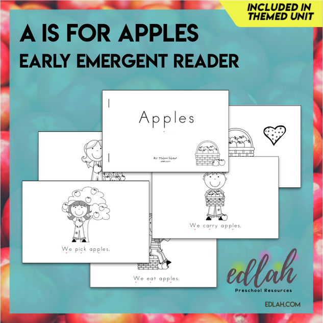 A is for Apples Early Emergent Reader - Black & White Version