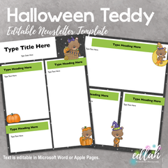 Halloween Teddy Newsletter for WORD or PAGES_Generation 2