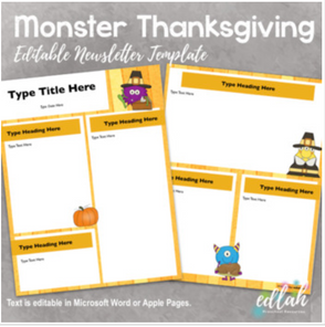 Thanksgiving Monsters Newsletter for WORD or PAGES_Generation 2