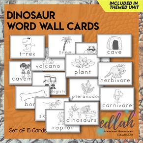Dinosaur Vocabulary Word Wall Cards (set of 15) - Black & White-Version#1