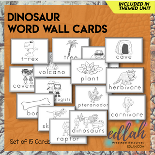 Dinosaur Vocabulary Word Wall Cards (set of 15) - Black & White-Version#1