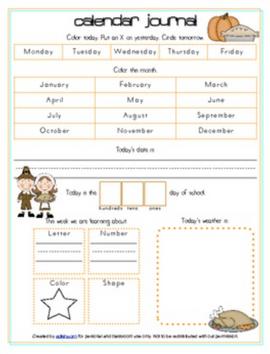 Thanksgiving Calendar/Circle Time Journal Sheet