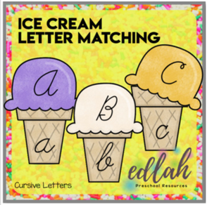 Ice Cream Letter Case Matching-CURSIVE