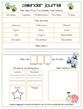 Insects Calendar/Circle Time Journal Sheet