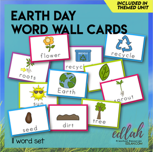 Earth Day Vocabulary Word Wall Cards (set of 11) - Full Color -Version#1