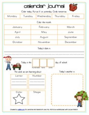 Apples Calendar/Circle Time Journal Sheet