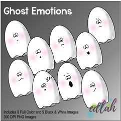 Ghost Emotions Face Clip Art