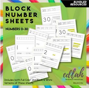 BLOCK Number Practice Sheets (0-30) - BUNDLED
