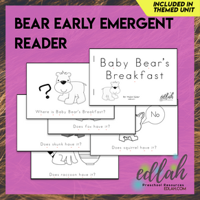 B is for Bears Early Emergent Reader - Black & White Version
