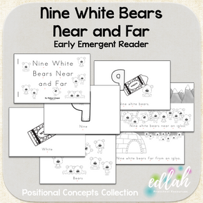 Nine White Bears Early Emergent Reader (Near and Far) - Black & White Version